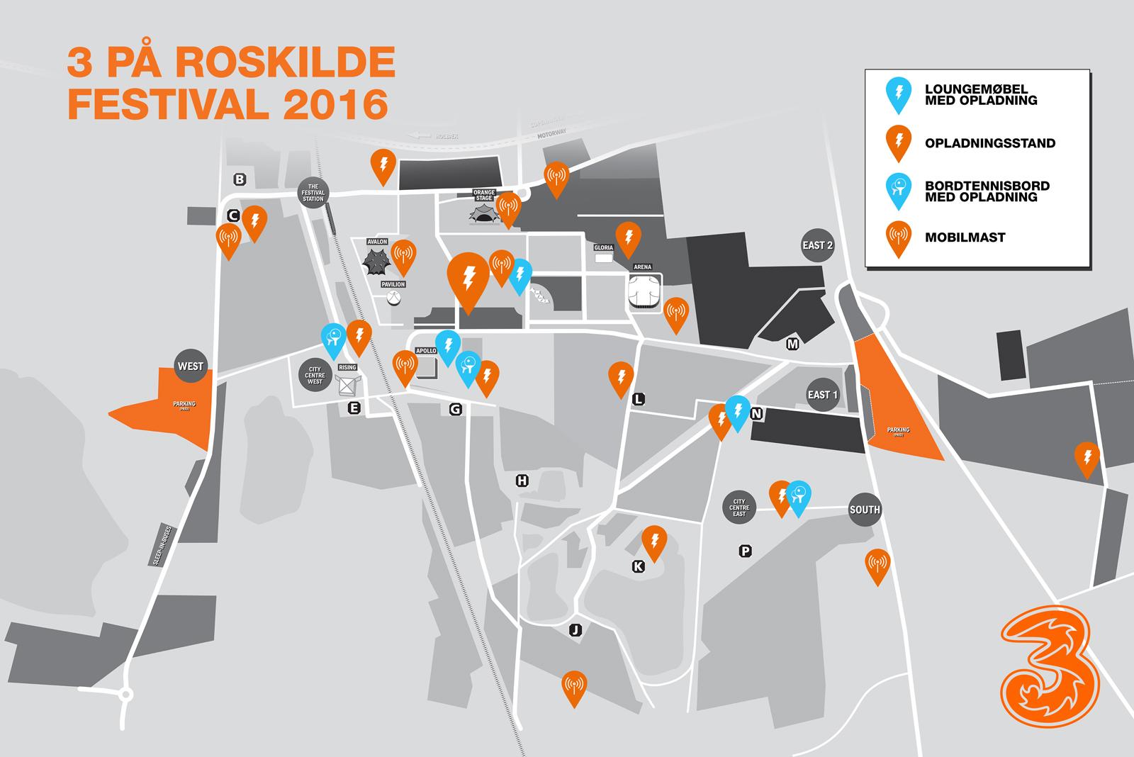 3 er klar til datastorm på Roskilde Festival