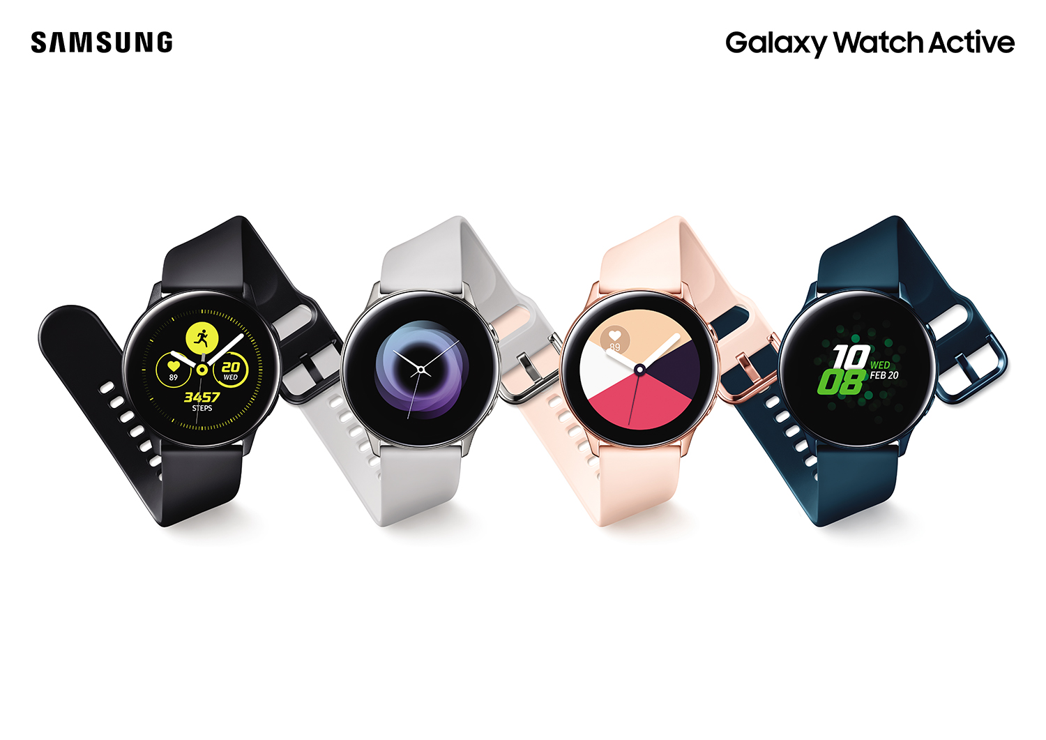 Samsung Galaxy Watch Active, Galaxy Fit og Galaxy Buds